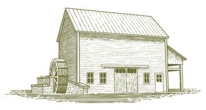 Woodcut Mill Illustration. Woodcut-style illustration of an old water mill Royalty Free Stock Image