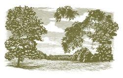Woodcut Missouri Landscape Royalty Free Stock Photo