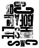 Woodcut Mixed Letters. Various wood letters in graphic arrangement Royalty Free Stock Image