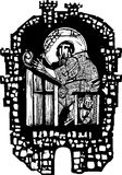 Woodcut Monk in Monastery Royalty Free Stock Image