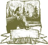 Woodcut Moose Design. Woodcut-style illustration of a rough moose design background Stock Photography