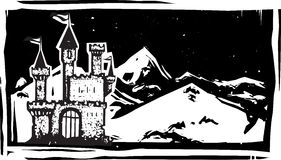 Woodcut Mountain Castle. Woodcut style image of a fairy tale castle in snowy mountains Royalty Free Stock Photo