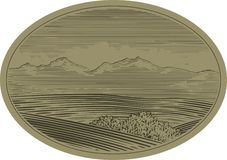 WoodCut Mountain Scene Stock Photos