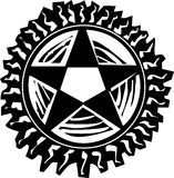 Woodcut Pentagram Stock Photography