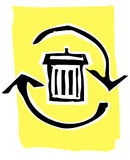 Woodcut recycle image #2 Stock Image