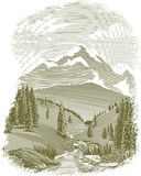 Woodcut River Scene Vignette vector illustration