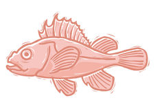 Woodcut rockfish Stock Photo