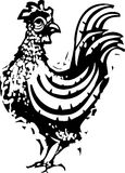 Woodcut Rooster Standing Royalty Free Stock Photo