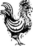 Woodcut Rooster Walking Stock Photography