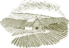 Woodcut Rural Farm Setting Stock Images