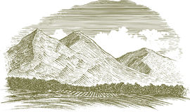 Woodcut Rural Mountain Scene vector illustration