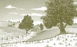 Woodcut Rural Scene Stock Image