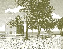Woodcut Shaker Village. Woodcut style illustration of a shaker village Stock Photo