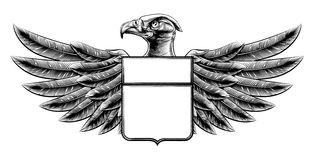 Woodcut Shield Eagle Royalty Free Stock Images