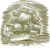Woodcut Ship Stock Image