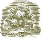 Woodcut Ship. Woodcut-style illustration of a sailing ship Stock Image
