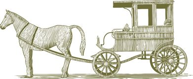 Woodcut Horse and Buggy. Woodcut-style illustration of a horse and buggy vector illustration