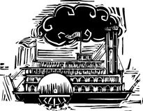Woodcut Side wheel Steamboat Royalty Free Stock Images