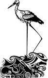 Woodcut ocean Stork Royalty Free Stock Photography
