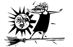 Woodcut witch with sun and moon stock illustration