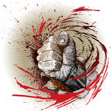 Woodcut style fist Stock Photos