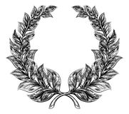 Woodcut style Laurel Wreath Stock Photo