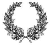 Woodcut style Laurel Wreath Stock Photo
