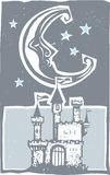 Woodcut style moon and castle Royalty Free Stock Photos
