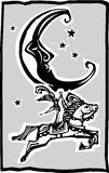 Woodcut style moon and Circus Royalty Free Stock Photos