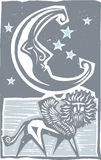 Woodcut style moon and Persian Sphinx Stock Photos