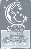 Woodcut style moon and riverboat Stock Images