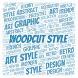 Woodcut Style word cloud. Wordcloud made with text only royalty free illustration