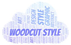 Woodcut Style word cloud. Wordcloud made with text only stock illustration