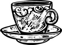 Woodcut Teacup Royalty Free Stock Images