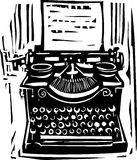 Woodcut Typewriter. Woodcut style image of a manual typewriter Royalty Free Stock Photography