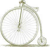 Woodcut Vintage Bicycle Drawing. Woodcut-style illustration of a penny farthing Royalty Free Stock Photo