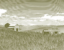 Woodcut Vintage Farm. Woodcut style illustration of a farm landscape Stock Photo