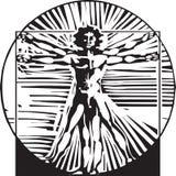 Woodcut Vitruvian Man Royalty Free Stock Photos