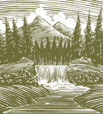 Woodcut Waterfall Wilderness. Woodcut style illustration of a waterfall in the wilderness Stock Image