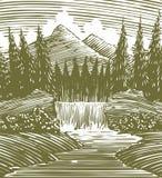 Woodcut Waterfall Wilderness Stock Image