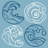 Woodcut Waves Royalty Free Stock Photo