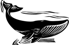 Woodcut Whale 6 Stock Photos