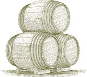 Woodcut Whiskey Barrel Stack. Woodcut-style illustration of a stack of wooden barrels royalty free illustration
