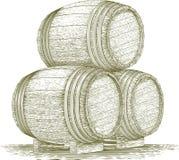 Woodcut Whiskey Barrel Stack Stock Images