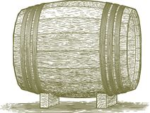 Woodcut Whiskey Barrel. Woodcut-style illustration of a wooden barrel Royalty Free Stock Image