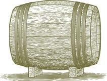 Woodcut Whiskey Barrel. Woodcut-style illustration of a wooden barrel royalty free illustration