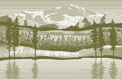 Woodcut Wilderness. Woodcut-style illustration of a mountain wilderness scene Royalty Free Stock Image