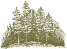 Woodcut Wilderness vector illustration