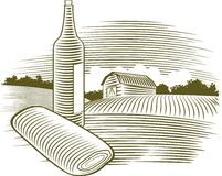 Woodcut Wine Bottle. Illustration of a wine bottle with a farm scene in the background Stock Photos