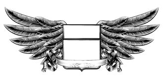 Woodcut winged shield banner Stock Images